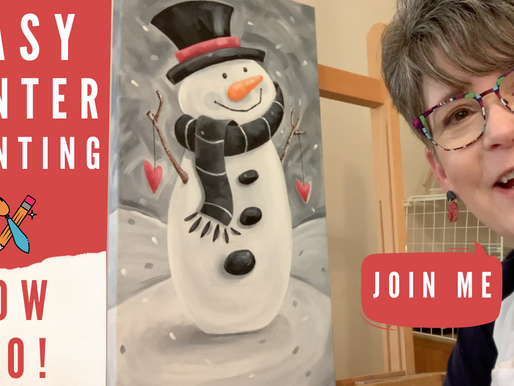 Winter Painting for BEGINNERS - Snowman!