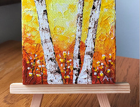 """Fall Fire"" 3x3 inch Original Painting Giveaway"