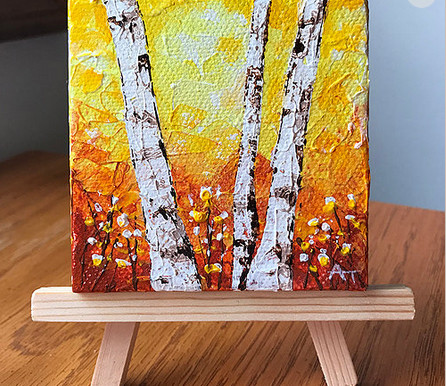 """""""Fall Fire"""" 3x3 inch Original Painting Giveaway"""