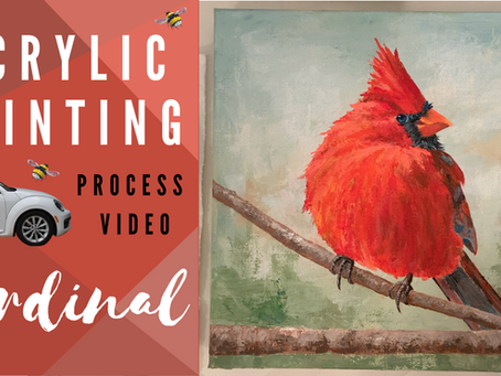 """Cardinal Red"" Process Painting"