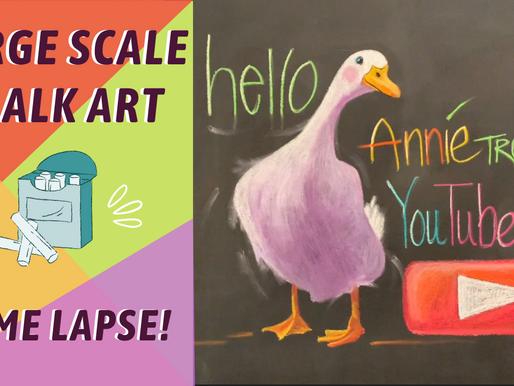 BIG CHALK WALL CHALK ART! White Duck Drawing! By: Annie Troe