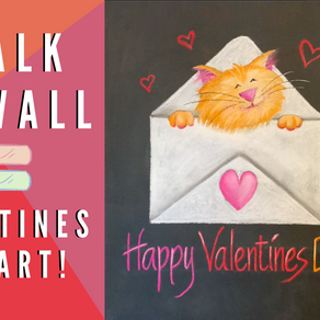Chalk Your WALL! #37 - Valentine's Day Cat!