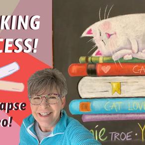 CHALK ART! Chalking my BIG Chalk wall! Cute Cat! ep.45