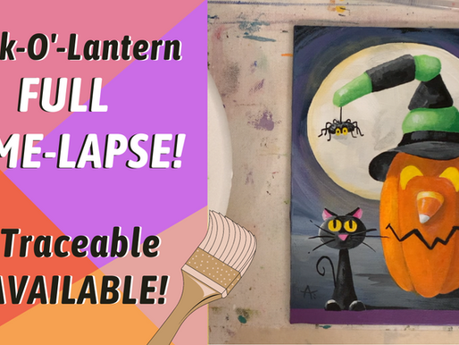 FULL Jack-O'-Lantern TIME LAPSE! Halloween Painting! By: Annie Troe