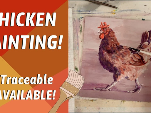 STEP BY STEP SIMPLE ROOSTER CHICKEN PAINTING! Traceable Available! By: Annie Troe