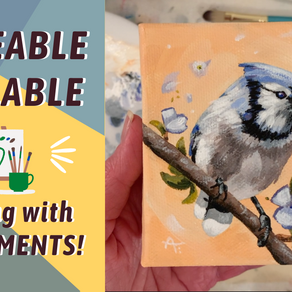 ACRYLIC Painting Process! BLUE JAY! By: Annie Troe