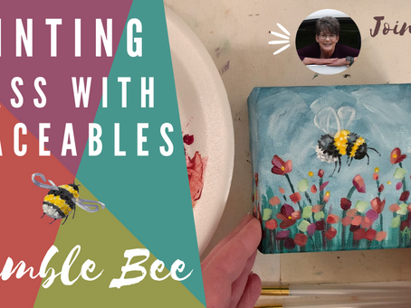 Bumble Bee Acrylic Painting with Traceable!