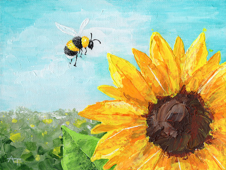 """Landing Gear Ready!"" Sunflower Painting Giveaway"