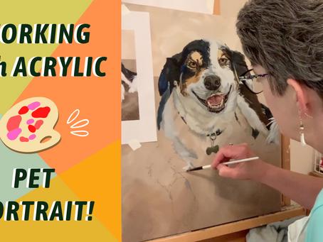 DOG PET PORTRAIT! How To Paint FUR! By: Annie Troe