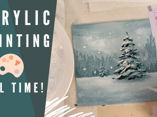 EASY Real Time Acrylic Painting! - Winter Scene!