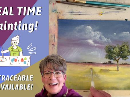 HOW TO PAINT A SIMPLE TREE & RAIN CLOUDS! Landscape Painting! Nebraska Skies Series! By: Annie Troe
