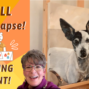 HOW TO Paint Dog Time-Lapse! LARGER CANVAS ART TIPS!