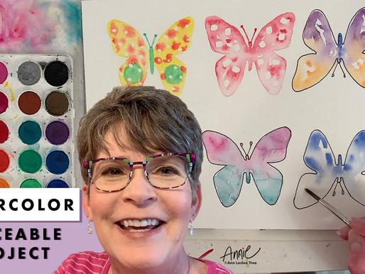 Butterflies Traceable Watercolor Class