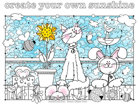 NEW FREE Coloring Page! - Cats :)