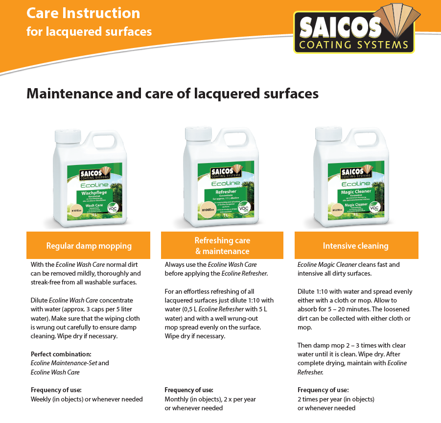 Clean maintenance for Lacquered floos