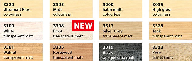 Saicos Premium Hardwax Oil Colour chart