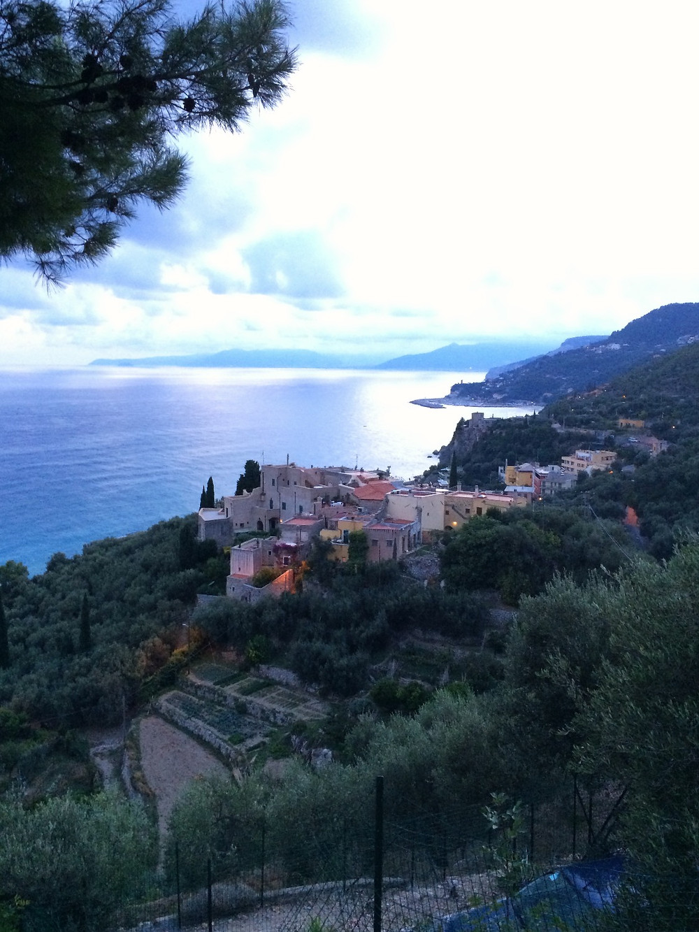 evening view in liguria
