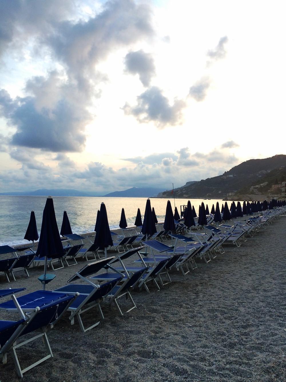 beach chairs in liguria