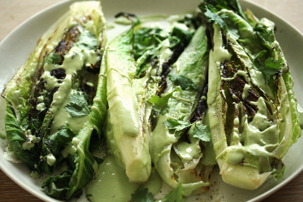 grilled romaine salad with cashew-lime dressing
