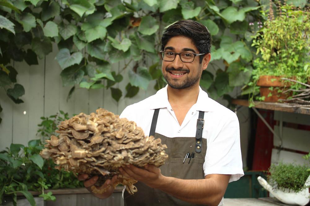 Neel Patil with Maitake Mushroom