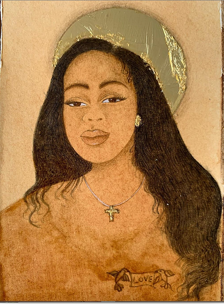 Memorial portrait of Breonna Taylor. Say
