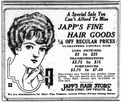 Japp's Hair Store 1914 Newspaper Ad