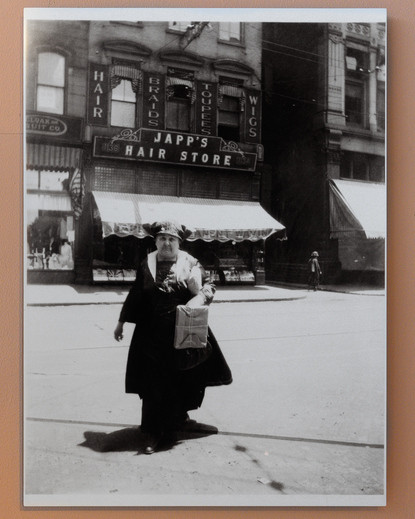 A Woman Posing Outside of Japp's Hair Store