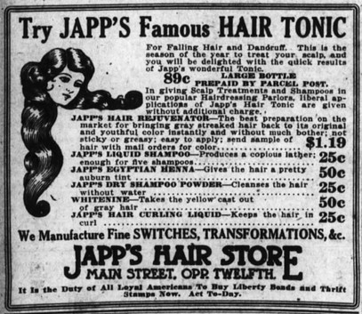 1918 Ad for Japp's Famous Hair Tonic.jpg