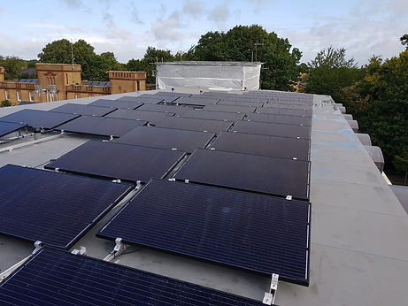 Small solar farm on the roof of a block of flats