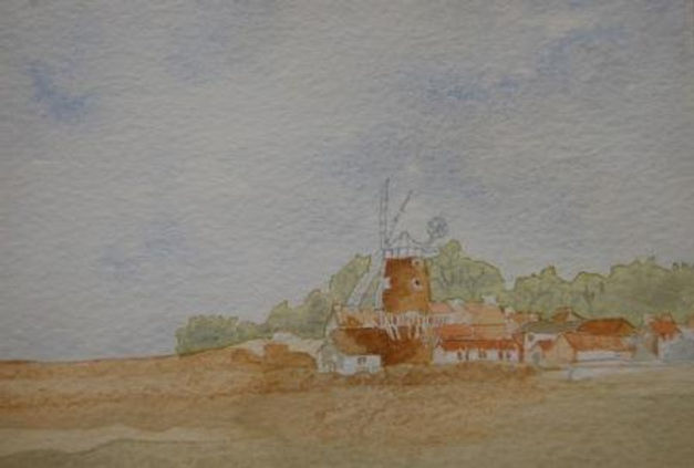 Suffolk windmill; water colour by Guy Ro