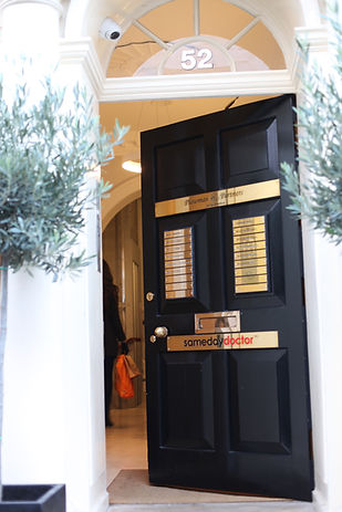 Dental practice front door at 52 Queen Anne Street