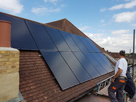 Solar PV panels on a bungalow in Croydon