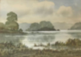 Lake scene by Keith Burtonshaw; watercolour
