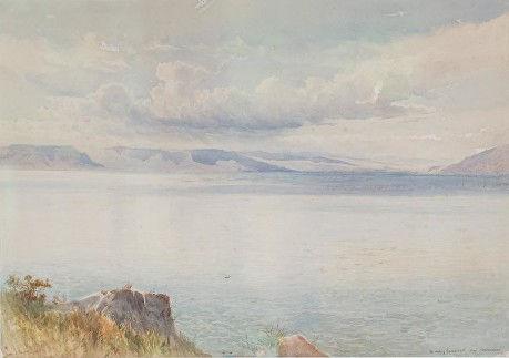The Lake of Gennesareth watercolourw