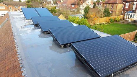 Solar power PV panels installed on a detched house
