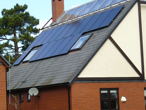 Solar panel domestic installation on a detached house