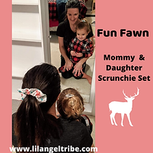 Fun Fawn Mommy & Daughter Scrunchie Set.