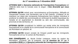 Semaine nationale de l'immigration francophone 2020