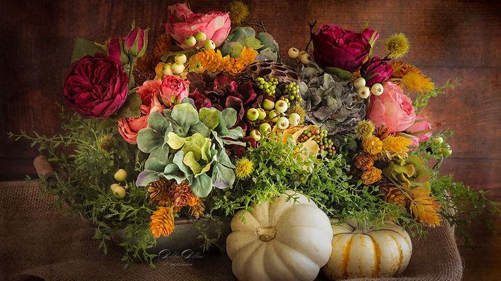 Fall flowers mini pumpkins textured wm.jpg