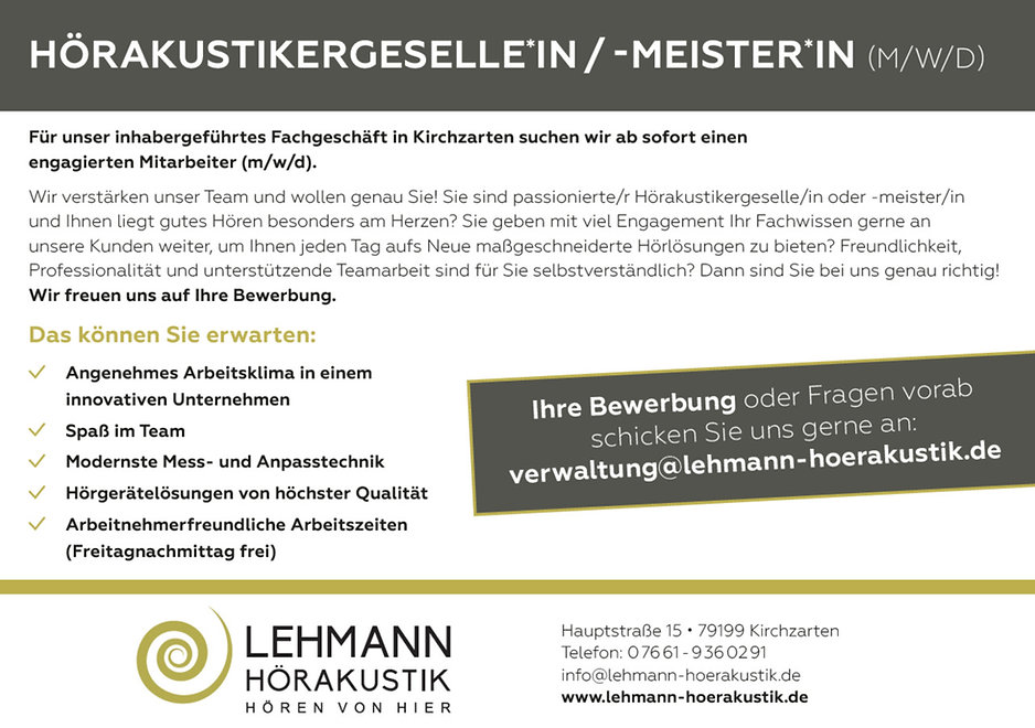 Jobs Stellenangebot Florian Lehmann Hörakustik Hörgeräte in Kirchzarten