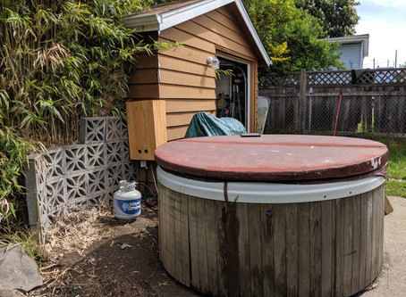 Off the grid hot tub build
