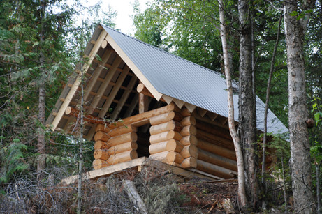 Log shell with a roof.