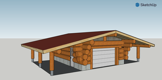 20' by 25' Log shop model of an upcoming project.