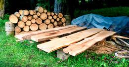 Douglas-fir and cedar slabs