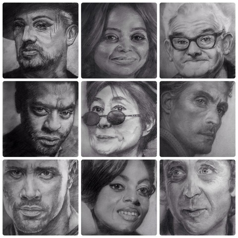 Display pencil drawings