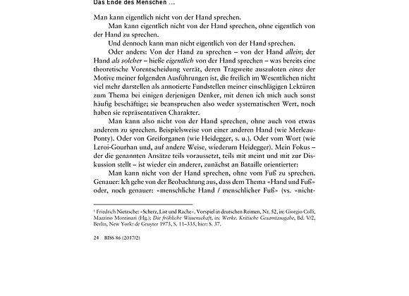 Boelderl_Hand_reichungen und Fuß_noten. Zwischen Mensch und Tier_86