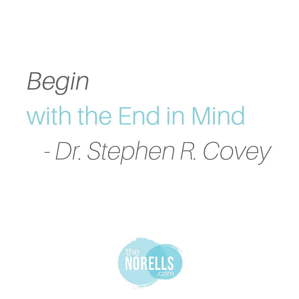 Begin with the end in mind by Stephen Covey