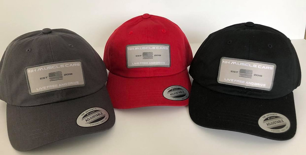 NH Muscle Cars American Flag Patch Hat: Gray, Red, or Black