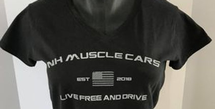 NH Muscle Ladies V-neck T-shirt - Live Free and Drive