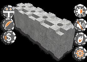 Bloque Encastrable Concreto Celular Liviano. Aislante térmico, acústico, ignífugo, ecológico, liviano, resistente.
